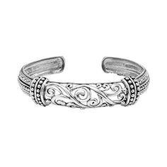 """6 3/4"""" Oxidized Filigree Cuff Bracelet in Sterling Silver $110"""