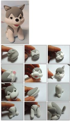 Tutoriel : Comment faire un chien kawaii en Fimo - How to make a kawaii dog in Fimo - do Diy Fimo, Crea Fimo, Fimo Clay, Polymer Clay Projects, Polymer Clay Charms, Polymer Clay Creations, Clay Crafts, Fondant Animals, Fondant Dog