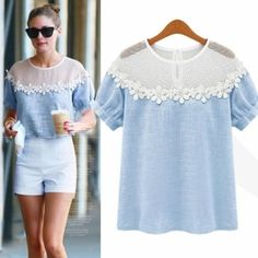 New Casual Women Loose Hollow Out Short Sleeve T-Shirt Blouse Tops