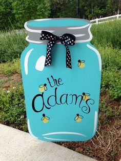 Our BEST SELLER!!!  Fireflies Southern Jar Wooden Door Hanger by PatrioticPeacockShop, $45.00