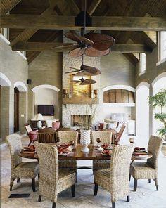 Julie Davis Interiors. Outdoor Space Design. Covered Porch. -via Interior Canvas