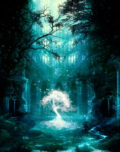 Forest of Death and the Tree of Life Fantasy Places, Fantasy World, Fantasy Kunst, Fantasy Landscape, Fantasy Trees, Fantasy Artwork, Amazing Art, Awesome, Cool Art