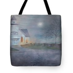 THROUGH THE FOG Tote Bag for sale by T Fry-Green.  $26.00 The tote bag is machine washable, available in three different sizes, and includes a black strap for easy carrying on your shoulder.  All totes are available for worldwide shipping and include a money-back guarantee. #throughthefog #fog #church #tree #sundays #moon #fashionbag #tfrygreenart #tfrygreen #homeatlaststudio #art #original #tote #toteart #fineartamerica