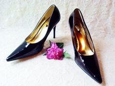 Shiny Black Patent Leather Stiletto Pumps by NaturesUniqueBotique