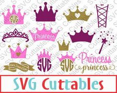 Princess Crown SVG Princess Monogram Wand DXF EPS by SVGCUTTABLES