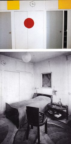 Top photo by Jacques Dirand. Photo above by Man Ray.  In another bedroom at Villa Noailles curves take precedence, from the globe ceiling fixture to the rounded forms of the furnishings, to the swirling pattern of the carpet. Every room has an identical clock designed by Francis Jourdain driven by a single central mechanism.