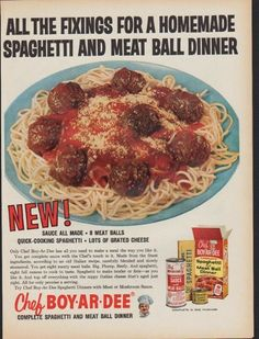 "Description: 1961 CHEF BOY-AR-DEE vintage print advertisement ""All the Fixings"" -- All the fixings for a homemade spaghetti and meat ball dinner. Complete spaghetti and meatball dinner. -- Size: The dimensions of the full-page advertisement are approximately 11 inches x 14 inches (28 cm x 36 cm). Condition: This original vintage advertisement is in Very Good Condition unless otherwise noted."