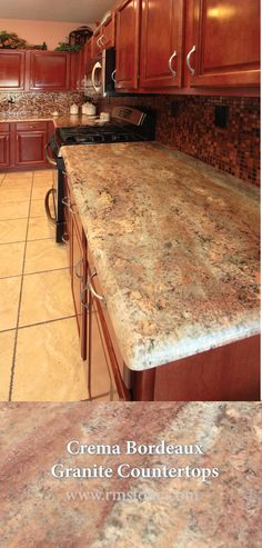 Crema Bordeaux Granit Arbeitsplatten aus Rocky Mountain Stone in Albuquerque, NM- Farmhouse Kitchen Cabinets, Kitchen Cabinet Colors, Granite Kitchen, Kitchen Redo, Kitchen Countertops, Kitchen Remodel, Kitchen Ideas, Kitchen Designs, Kitchen Backsplash