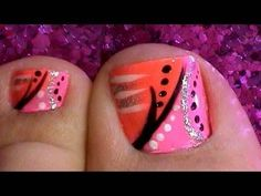Toe Nail Art Designs Tutorial Would be cute in pink and gray
