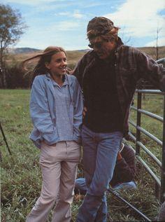 """Robert Redford and little Scarlett Johansson on the set of """"The Horse Whisperer"""" ~ 1998"""