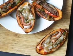 philly cheese steak stuffed sweet potato skins