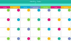 Monthly  calendar printable free