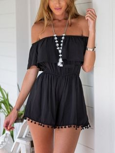 Black,Off Shoulder,Elastic Waist,Pom Pom,Romper,