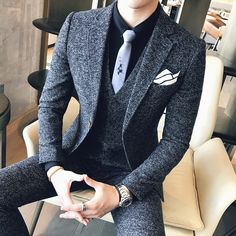 Autumn and winter new england suit men s self cultivation suit three piece male groom wedding dress men s burgundy fashion 2 piece suit up to The Suits, Dress Suits For Men, Men's Suits, Men Dress, Dress Shoes, Stylish Mens Fashion, Mens Fashion Suits, Indian Men Fashion, Fashion Kids
