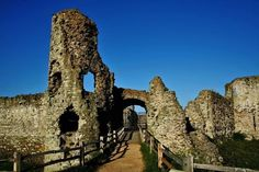 "Pevensey Castle, East Sussex;  called  'Anderida' by the Romans.  It portrays  ""A proper yoemanly appearance."""