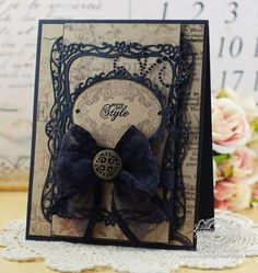 Card Making Ideas by Becca Feeken using JustRite Fashion Vintage Labels Six and Spellbinders