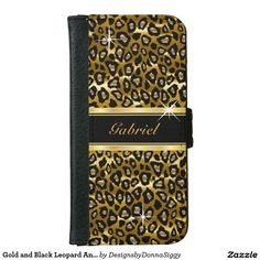 #Sold Gold and Black #Leopard #Animal Print #iPhone 6 #Wallet #Case  #zazzle #trendy #shopping