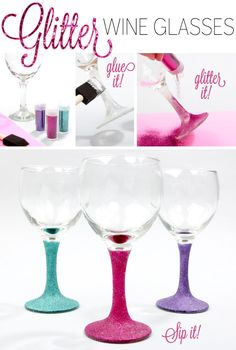 glitter wine glasses glitter diy craft crafts home diy easy diy home crafts great idea for party glasses. happy new year everyone! Glitter Wine Glasses, Diy Wine Glasses, Painted Wine Glasses, Diy Para A Casa, Wine Glass Crafts, Glitter Crafts, Diy Home Crafts, Craft Tutorials, Diy Tutorial