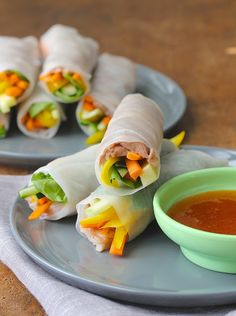 Slow cooker Pork Spring Rolls with Spicy Plum Dipping Sauce