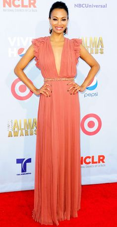 Zoe Saldana  EVENT: The ALMA Awards    DESIGNER: Gucci    WHY WE LOVE IT: The actress looked every inch a goddess in her plunging, pleated gown.