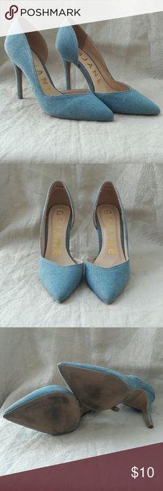 Go Jane denim stiletto heels Good condition blue denim heels. Slight scuffs, see photo. Worn once for an exterior shoot. Go Jane Shoes Heels