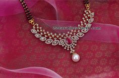 Black Beads Sets Diamond Lockets - Jewellery Designs