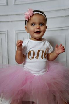 Baby Girls First Birthday Outfit Pink and Gold by First Birthday Themes, Baby Girl First Birthday, First Birthday Outfits, First Birthdays, Birthday Ideas, Pink Tutu, Tulle Tutu, Baby Messages, Gold Polka Dots