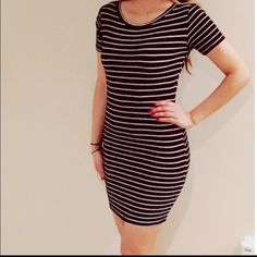 Black and white striped dress  Super cute and very stretch black and white striped dress . So soft and sexy! Size small but super stretchy. I am 5'4 for reference on length. Basically new, only worn a few times. Forever 21 Dresses