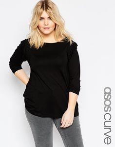 ASOS CURVE Ruffle Shoulder Swing Top With Long Sleeve