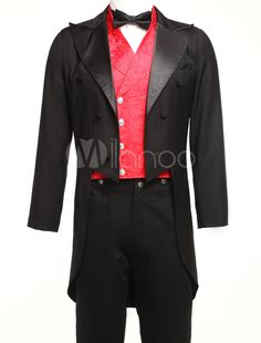 Formal Black Jazz Cloth Double-breasted Mens Tailcoat