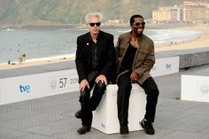 "Jim Jarmusch Director Jim Jarmusch (L) and actor Isaach De Bankole (R).  Film :""The Limits of Control"""