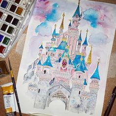 Disney Castle Drawing, Castle Sketch, Disney Drawings, Disney Castle Tattoo, Disney Watercolour, Watercolor Print, Watercolour Paintings, Disney Paintings, Disney Princess Paintings