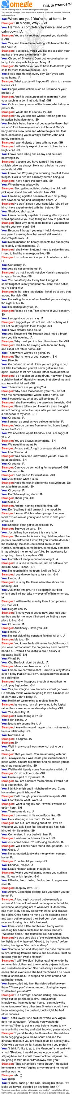 Omegle chat log  OHMYGOD READ THIS SHIT