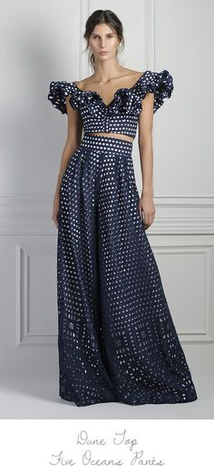 Johanna Ortiz navy-dune-eyelet-cropped-top and five oceans wide leg pants Look Fashion, Runway Fashion, High Fashion, Womens Fashion, Fashion Design, Dot Dress, Dress Up, Schneider, Look Chic