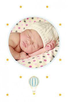 Dankeskarte Mini Ballonfahrt by Louise Pianetti für Rosemood.de #Danksagung #Babykarte #Stern#newbaby #babygirl #babyboy