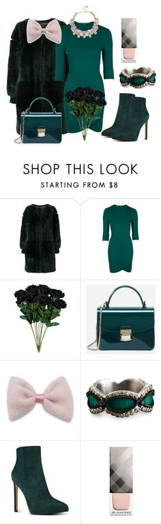 """Green&pink"" by subvilli ❤ liked on Polyvore featuring Chloé, Topshop, Armenta, Nine West, Burberry, Betsey Johnson, Pink, GREEN and polyvorefashion"