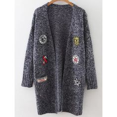 Navy Marled Knit Patch Long Cardigan With Pockets (1.795 RUB) via Polyvore featuring tops, cardigans, long cardigan, short-sleeve cardigan, navy blue long cardigan, knit cardigan и long sleeve tops