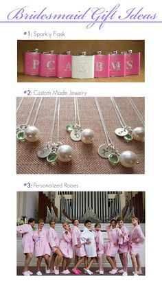Bridesmaids Gift Ideas @Liz Brooker ill take the pink flask!