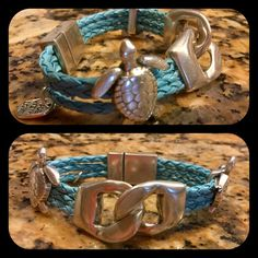 Bracelet blue leather, silver clasp, turtles NEW New bracelet with blue leather and silver magnetic clasp and very sweet silver turtles. Very sweet and looks beautiful on. 7.5 length Jewelry Bracelets