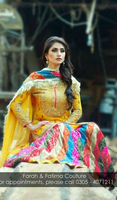 Farah and Fatima Couture winter dresses 2014 for girls have recently launched.These dresses have embellished with high ends designs and richness. Bridal Mehndi Dresses, Mehendi Outfits, Pakistani Wedding Dresses, Pakistani Bridal, Pakistani Outfits, Indian Dresses, Bridal Outfits, Pakistani Mehndi, Wedding Sarees