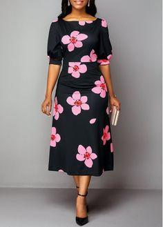 Party Dresses For Women High Waist Flower Print Round Neck Dress Black Dresses Online, Dresses For Sale, Dress Online, Women's Fashion Dresses, Dress Outfits, Cheap Black Dress, Spandex Dress, Necklines For Dresses, Kurta Designs