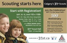 10 and our Scout Hall Anniversary Celebration Sept. 15 started appearing in NW Calgary publications in late July and will run into Sept. 9th Anniversary, Fun Fair, Print Ads, Calgary, Scouts, Celebration, Teen, 9 Year Anniversary, Teenagers