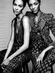 Spare, Me | W Magazine | February 2014 Jourdan Dunn and Joan Smalls photographed by Patrick Demarchelier #JourdanDunn #JoanSmalls