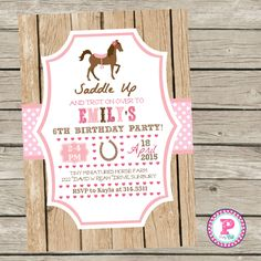 Horse Birthday Party Invitation Pony Party Pink Saddle Up! #Horses #Pony