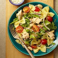 Lemony Pasta Salad - I made it with chicken and spinach instead of tuna and arugala. So good for a hot weather dinner!