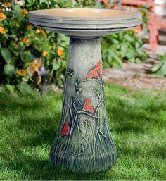 Burley Clay Hand Tinted Butterfly Ceramic Bird Bath - Bird Baths at Hayneedle Ceramic Bird Bath, Ceramic Birds, Modern Bird Baths, Bird Bath Heater, Bird Bath Garden, Garden Art, Bird Crafts, Bird Drawings, Small Birds