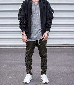 nylon bomber w Mens Fashion Casual Shoes, Mens Fashion Week, Mens Fashion Suits, Fall Fashion, Street Fashion, Swag Outfits, Boy Outfits, Dress Outfits, Fashion Outfits