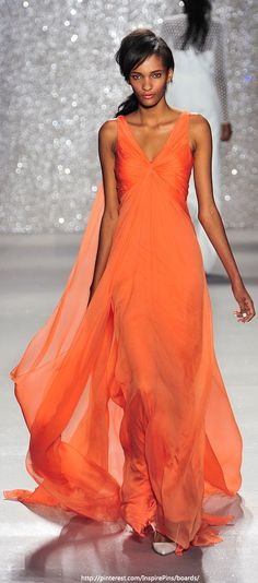 Pamella Roland - New York Spring 2014 LOVE the burnt orange color, and this would be a great wedding dress in white!