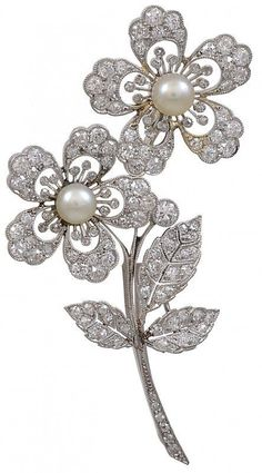 View this item and discover similar for sale at - Absolutely beautiful antique diamond and natural pearl double flower brooch, set in platinum. Most fine and delicate reticulated work. cts of diamonds. Pearl Jewelry, Sterling Silver Jewelry, Diamond Jewelry, Antique Jewelry, Vintage Jewelry, Fine Jewelry, Silver Ring, Antique Gold, Hippie Jewelry