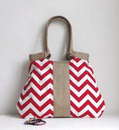 Red chevron tote bag with burlap valentine by madebynanna on Etsy, $65.00